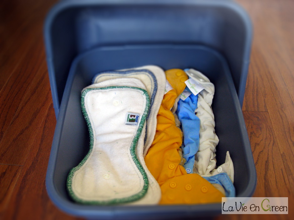 Cloth diapers storage options: pail or simple laundry basins