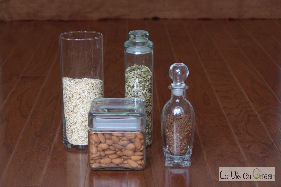 Recycled glass containers (jars, bottles)