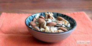 Eat a 100% organic nuts and seeds healthy snack daily instead of cereal bars or other sugary or salty snacks