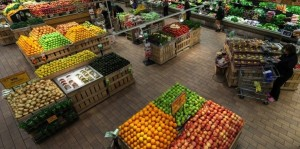 Fruits and vegetables with honey bees at Whole Foods