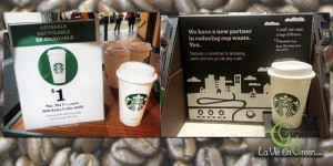 Starbucks launched a new reusable #5 plastic $1 coffee tea cup in January 2013 to reduce waste from paper cups
