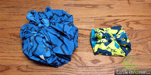 Eco friendly Furoshiki using fabric for sustainable green reusable gift wrapping