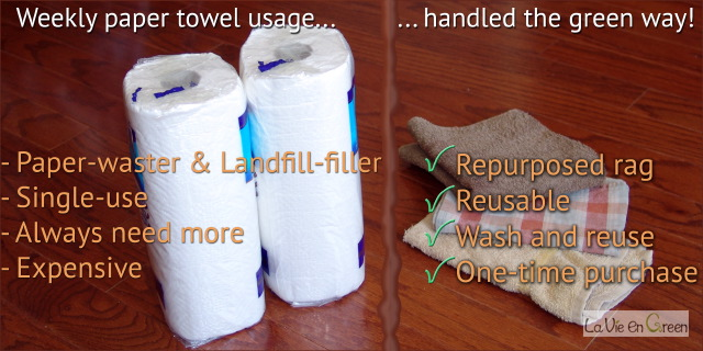 Paper towel vs reusable cloth rag