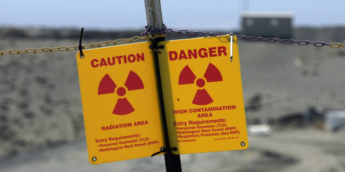 Caution nuclear contamination radiation danger sign in Hanford