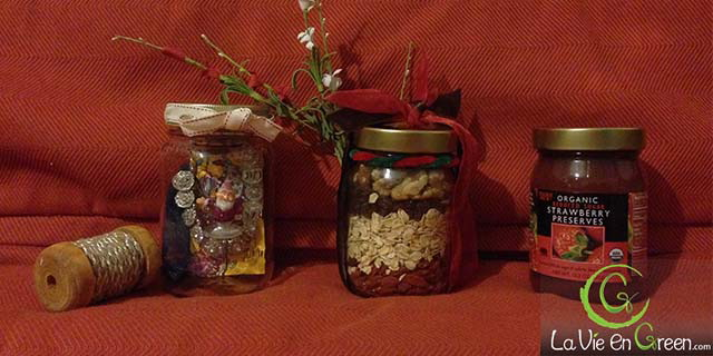 Reusing Glass or Mason Jars to green wrap up & package holiday season's gifts